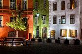 Night medieval street view in Sighisoara, Transylvania, Romania — Stock Photo