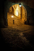 Medieval street from Sighisoara, Romania. Photo taken by night — Stock Photo