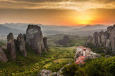 Meteora Roussanou Monastery at sunset, Greece — Stock Photo