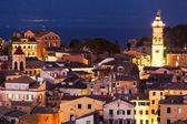 Panoramic view of the citylights of Corfu Town at night. Kerkyra — Stock Photo