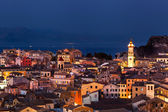 Panoramic view of the citylights of Corfu Town at night. Kerkyra — Stock Photo