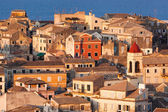 View homes in Corfu Town close-up, Greece — Stock Photo