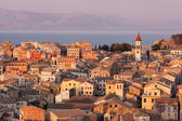 The city of Corfu during the sunset on a sunny day — Foto de Stock