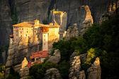 Meteora Roussanou Monastery at sunrise Greece — Stockfoto