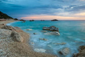 Kathisma beach, Lefkada, Greece surprised at twilight. — Stock Photo