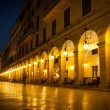 Liston street at night on Corfu Town, Greece — Stock Photo