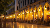 Liston street at night on Corfu island, Greece — Stock Photo