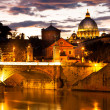 View of panorama night Vatican City in Rome, Italy — Stock Photo
