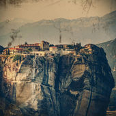 Vintage Coaster - Meteora Monasteries, Greece — Stock Photo