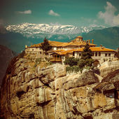 Vintage Coaster - Meteora Monasteries in Greece — Zdjęcie stockowe