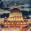 Vintage View of the Basilica church Saint Peter, at dusk - Rome — Stock Photo #37662423