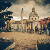 Vintage view - Traian column and Santa Maria di Loreto in Rome, — Stock Photo