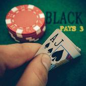 Vintage black jack table — Foto Stock
