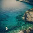 Stock Photo: Blue caves on Zakynthos island, Greece - vintage coaster