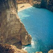 Niesamowite plaży navagio w zakynthos, Grecja - coaster wzór — Zdjęcie stockowe
