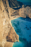 The world famous beach Navagio in Zakynthos, Greece - Vintage — Stock Photo