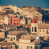 View homes in Corfu Town close-up, Greece - vintage coaster — Foto de Stock