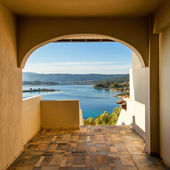 Sea view from apartment in the luxury hotel, Halkidiki, Greece — Stock Photo