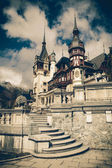 View of Peles Castle Tower, Sinaia Romania,Vintage Coaster — Stock Photo