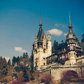 Peles Castle Sinaia, Romania, Vintage Coaster — Stock Photo