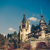 Peles Castle Sinaia, Romania, Vintage Coaster — Zdjęcie stockowe