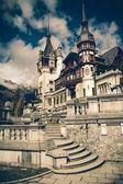 View of Peles Castle Tower, Sinaia Romania, Vintage Coaster — Stock Photo