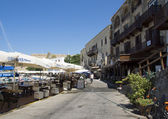 Street with restaurants in Kyrenia, Cyprus — Stock Photo