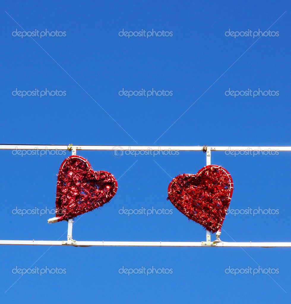 Heart decoration against the blue sky — Stock Photo #12586476