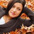 Woman lying on leaves — Stock Photo #14061026