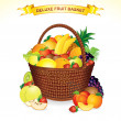 Fruit Basket Illustration — Stock Vector
