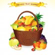 Stock Vector: Fruit Basket Illustration