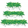 Green Leaves Banners - Stock Vector
