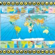 Map Elements with World Map — Vector de stock #13589906