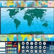 Infographic World Map Kit - Stok Vektör