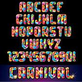 Alphabet fête carnaval — Vecteur