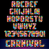 Alfabeto festa di carnevale — Vettoriale Stock