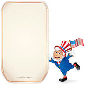 Cartoon Uncle Sam with Sign — ストックベクタ