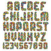 Motley Colorful Vector Font — Stock Vector