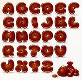 Alfabeto cioccolato — Vettoriale Stock