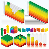 Collection of Isometric Graphs — Stock Vector