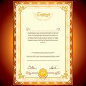 Golden Certificate — Stock Vector