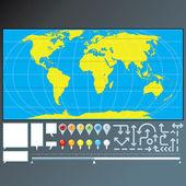 Kaart van markeringen, pijlen en pointers — Stockvector