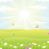Spring Meadow Vector — Stock Vector