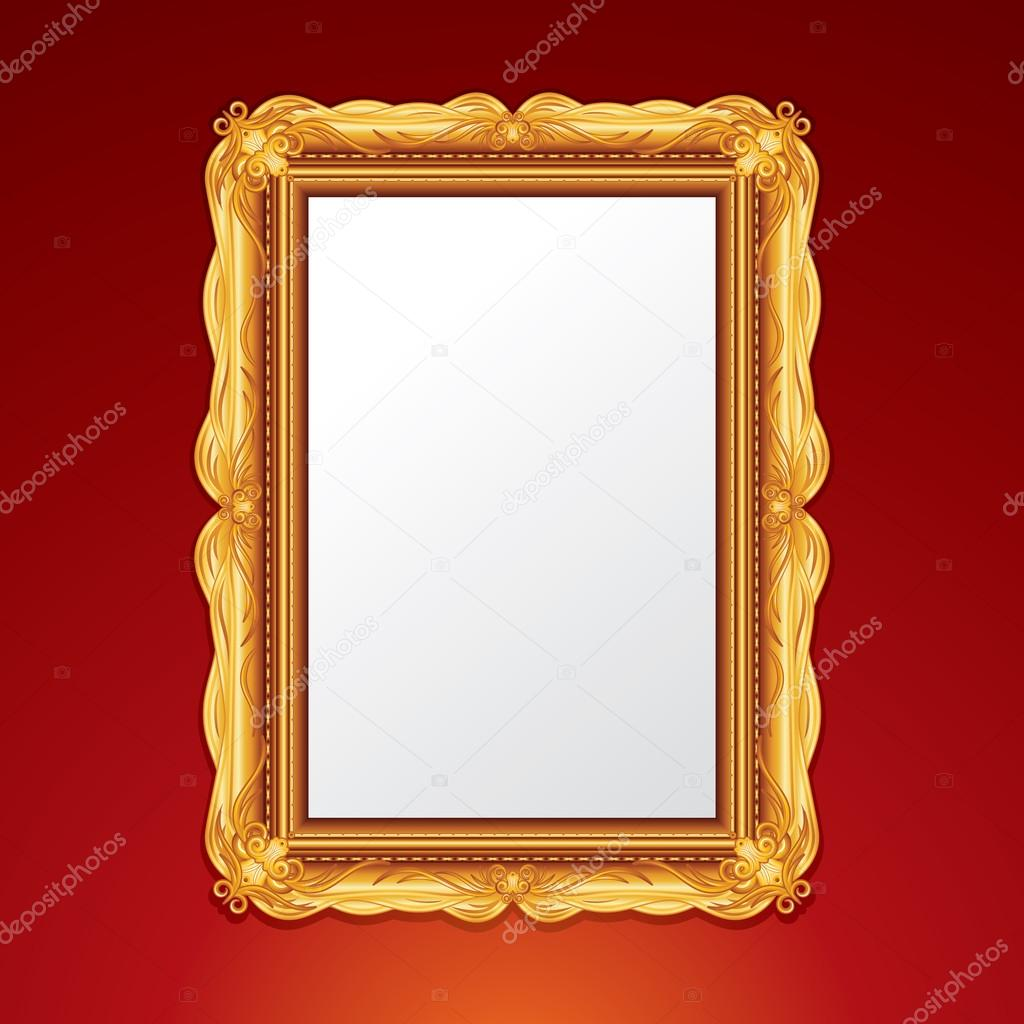 Gold Vintage Picture Frame. Vector Illustration — Stock Vector #13589868