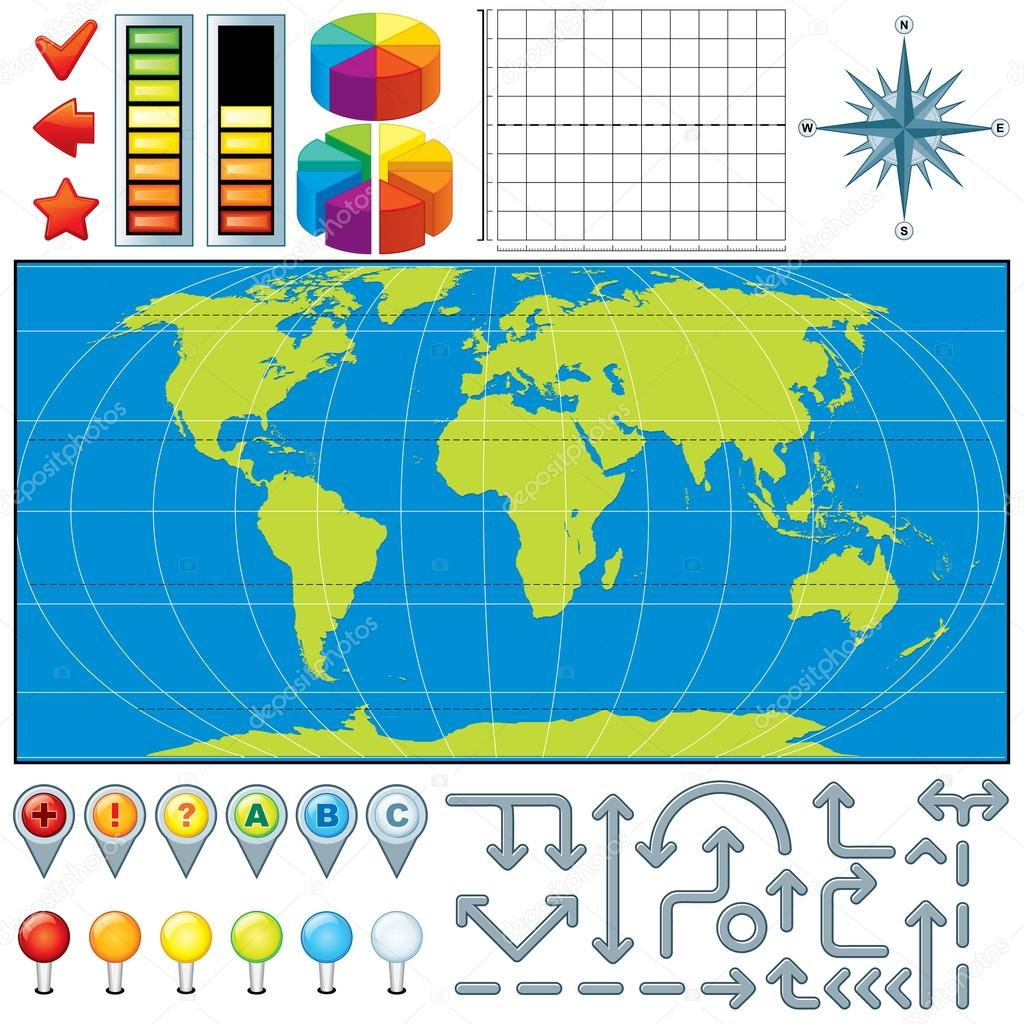 Markers, Pins, Pointers for Map. Vector Kit  Stockvectorbeeld #13589900
