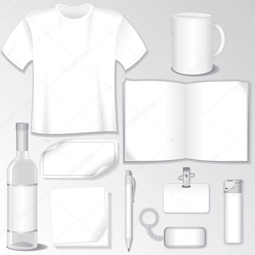 Blank Design Templates for your Presentation or Logos. White Vector Bottle, T-Shirt, Mug, Brochure, Badge, Pen, Bibelot... — Stockvektor #13589966