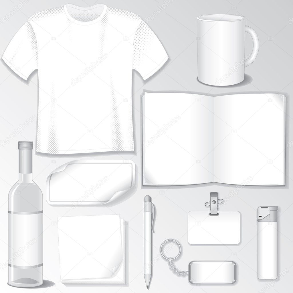 Blank Design Templates for your Presentation or Logos. White Vector Bottle, T-Shirt, Mug, Brochure, Badge, Pen, Bibelot... — Векторная иллюстрация #13589966
