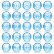 Stock Vector: Shine Glass Icons