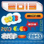 2013 Year Inscriptions Design — Stock Vector
