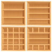 Vector Wooden Bookshelf — Stock Vector